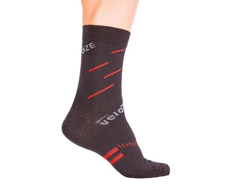 VeloToze Active Compression Wool Socks (Black/Red) (S/M)
