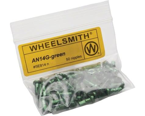 Wheelsmith 2.0 x 12mm Green Alloy Nipples, Bag of 50