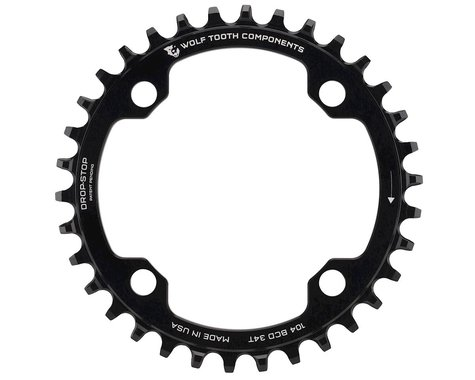 Wolf Tooth Components Drop-Stop Chainring (Black) (104 BCD) (34T)