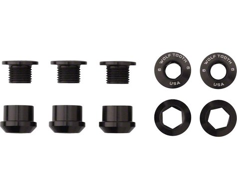 Wolf Tooth Components Dual Hex Fitting Chainring Bolts (Black) (6mm) (5ct)