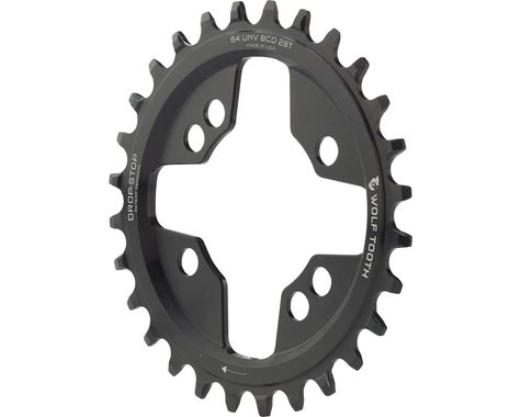 Wolf Tooth Components Drop-Stop Chainring (Black) (64mm Universal Mount BCD) (28T)