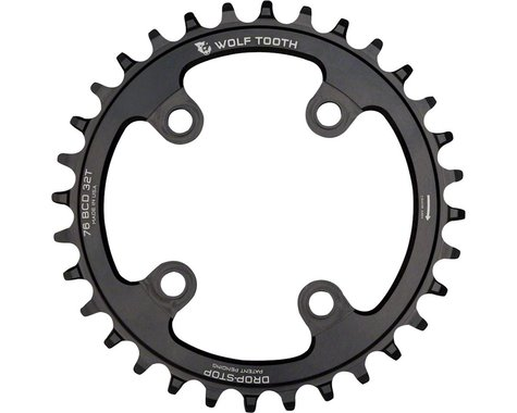 Wolf Tooth Components Drop-Stop Chainring (Black) (76mm BCD) (Offset N/A) (32T)