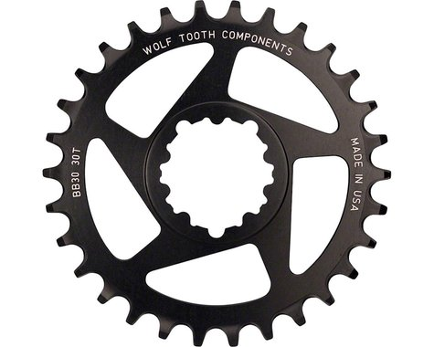 Wolf Tooth Components Direct Mount BB30 Drop-Stop Chainring (Black) (0mm Offset) (30T)