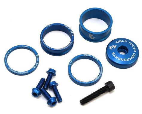 Wolf Tooth Components Headset Spacer BlingKit (Blue) (3, 5, 10, 15mm)