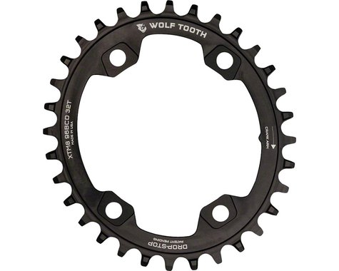 Wolf Tooth Components PowerTrac Drop-Stop Chainring (Black) (96mm Asym BCD) (34T)