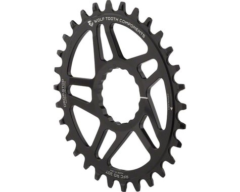 Wolf Tooth Components PowerTrac Drop-Stop Oval Chainring (Black) (Reverse-Dish) (30T)