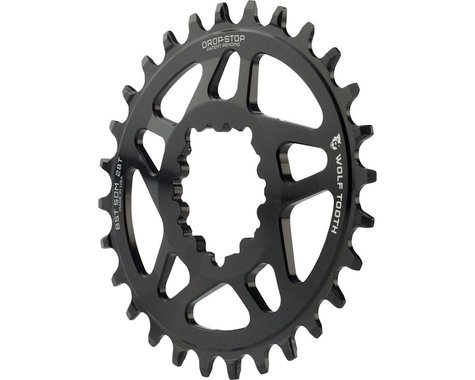 Wolf Tooth Components PowerTrac Drop-Stop GXP Oval Chainring (Black) (3mm Offset) (28T)