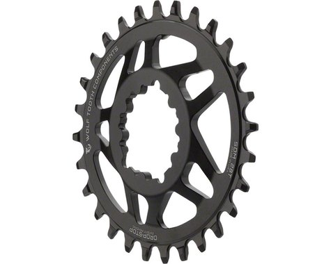 Wolf Tooth Components PowerTrac Drop-Stop GXP Oval Chainring (Black) (6mm Offset) (28T)