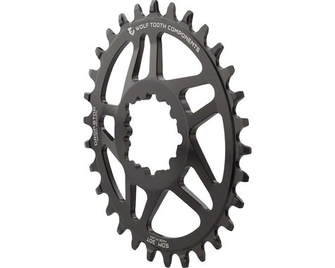 Wolf Tooth Components PowerTrac Drop-Stop GXP Oval Chainring (Black) (6mm Offset) (30T)
