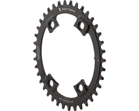 Wolf Tooth Components PowerTrac Drop-Stop Oval Chainring (Black) (110mm Asym BCD) (42T)