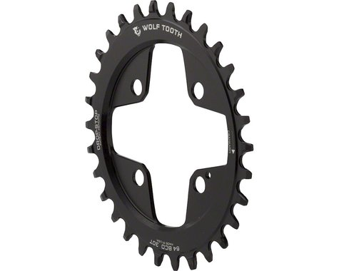 Wolf Tooth Components Powertrac Direct Mount Drop-Stop Oval Chainring (Black) (64mm BCD) (30T)