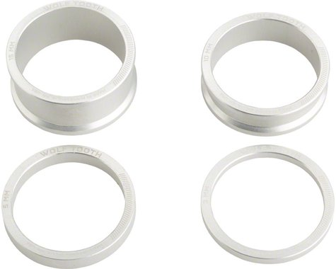 "Wolf Tooth Components 1-1/8"" Headset Spacer Kit (Silver) (3, 5, 10, 15mm)"
