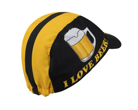 World Jerseys I Love Beer Cycling Cap (Black/Yellow)