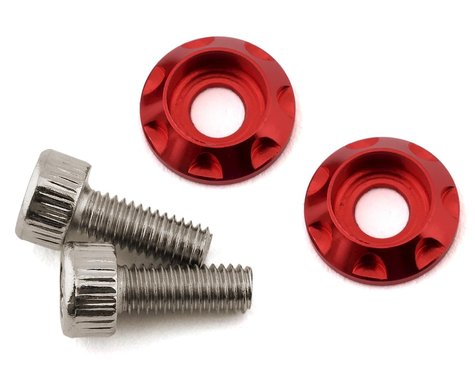 Team Brood M3 Motor Washer Heatsink w/Screws (Red) (2) (8mm)