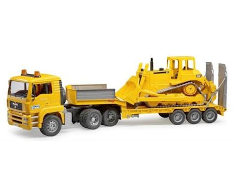 Bruder Toys 02778 Man Tga Loader Truck with Cat Bulldozer Vehicles-Toys Toy, Yellow