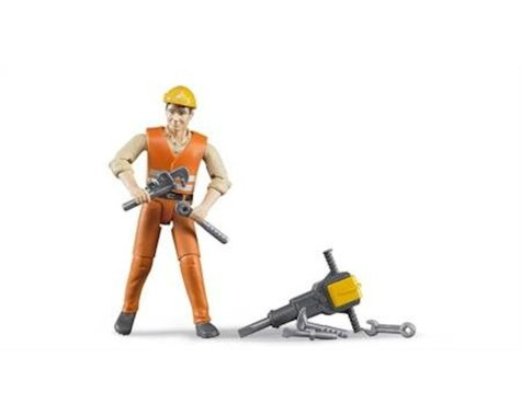 Bruder Toys Construction Worker w/Accessories