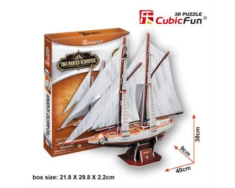 Cubic Fun Two-Masted Schooner 3D Puzzle