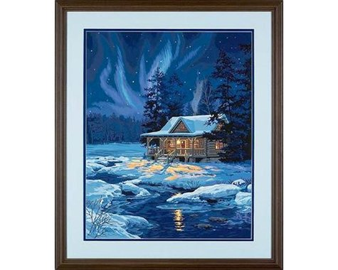 """Dimensions Moonlit Cabin (Winter Scene) Paint by Number (16""""x"""