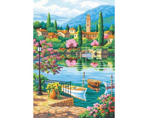 "Dimensions Village Lake Afternoon Paint by Number (14""x20"")"