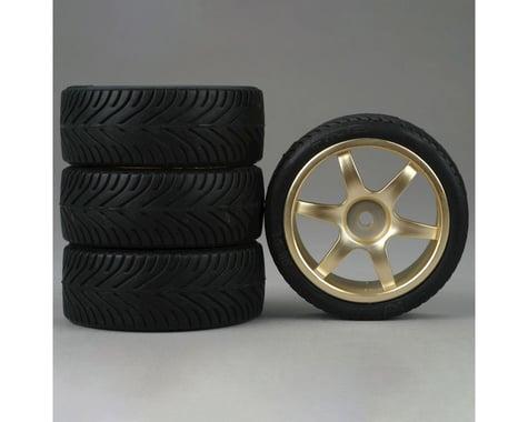 DuraTrax Radial 1/10 Touring Car Tire w/6-Spoke Wheel (Gold) (4)