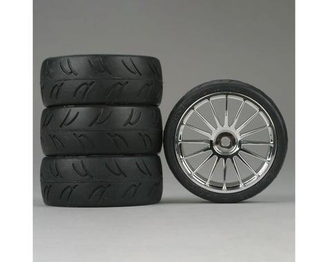 DuraTrax U-Groove 1/10 Touring Car Tire w/16-Spoke Wheel (Chrome) (4)