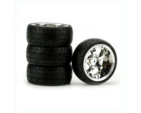 DuraTrax ST Radial 1/10 Touring Car Tire w/5-Blade Wheel (Chrome) (4) (10mm)