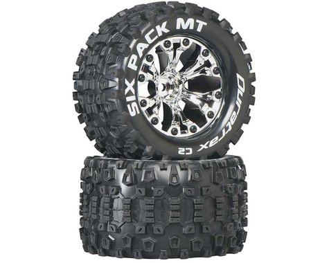 """DuraTrax Six-Pack MT 2.8"""" 2WD Mounted 1/2"""" Offset Tires, Chrome (2)"""