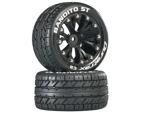 """DuraTrax Bandito ST 2.8"""" Mounted 2WD Rear Truck Tires (Black) (2)"""