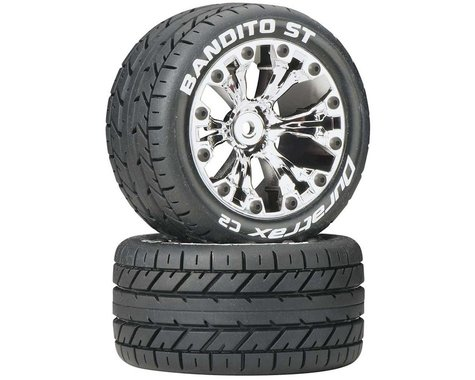 "DuraTrax Bandito ST 2.8"" Mounted 2WD Rear Truck Tires (Chrome) (2)"