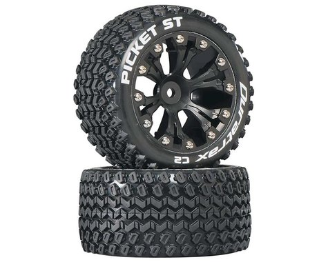 "DuraTrax Picket ST 2.8"" Mounted 2WD Rear Truck Tires (Black) (2)"