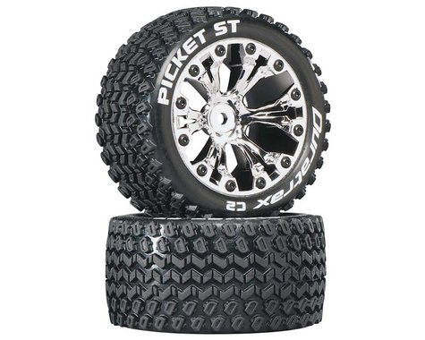 """DuraTrax Picket ST 2.8"""" 2WD Mounted 1/2"""" Offset Tires (Chrome) (2)"""