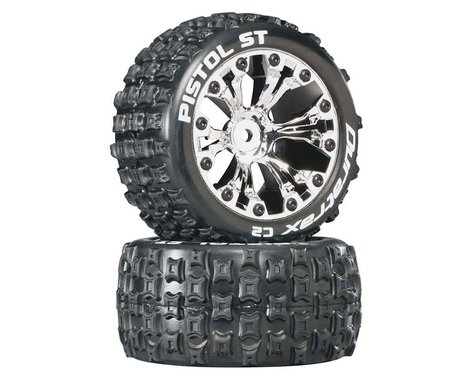 """DuraTrax Pistol ST 2.8"""" 2WD Mounted Rear C2 Tires, Chrome (2)"""
