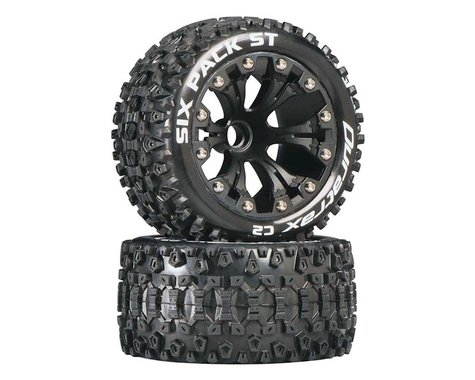 """DuraTrax Six Pack ST 2.8"""" 2WD Mounted Front C2 Tires (Black) (2)"""
