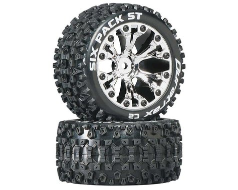 """DuraTrax Six Pack ST 2.8"""" 2WD Mounted Rear C2 Tires, Chrome (2)"""