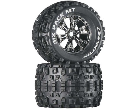 "DuraTrax Six-Pack MT 3.8"" Mounted Tires, Chrome (2)"