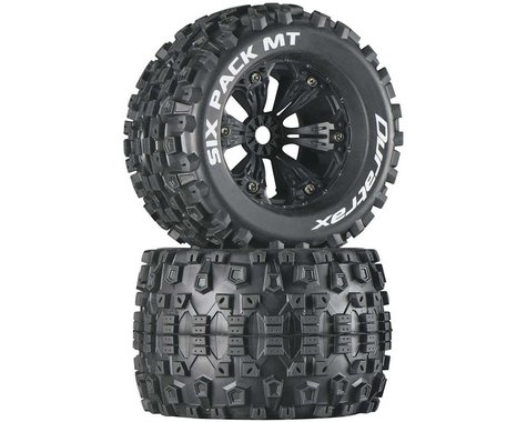 "DuraTrax Six Pack MT 3.8"" Pre-Mounted Truck Tires (Black) (2) (1/2 Offset)"