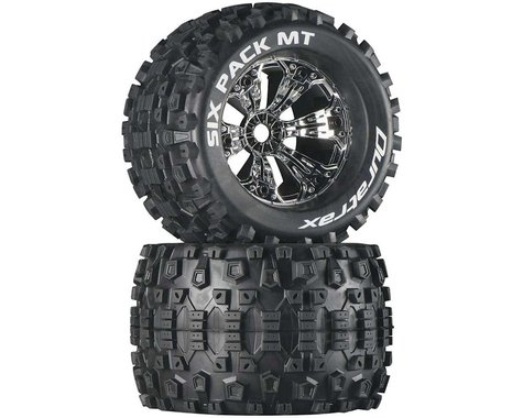 """DuraTrax Six Pack MT 3.8"""" Pre-Mounted Truck Tires (Chrome) (2) (1/2 Offset)"""