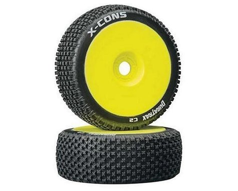 DuraTrax X-Cons Pre-Mounted  1/8 Buggy Tire (Yellow) (2) (C2 - Soft)