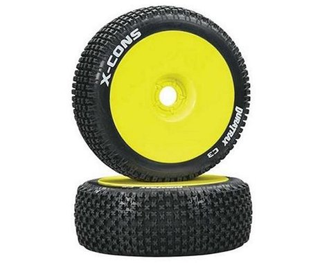 DuraTrax X-Cons Pre-Mounted  1/8 Buggy Tire (Yellow) (2) (C3 - Super Soft)