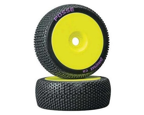 DuraTrax Posse 1/8 C2 Mounted Buggy Tires, Yellow (2)