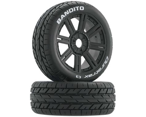 DuraTrax Bandito 1/8 Buggy Tire C3 Mounted Spoke Tires, Black (2)