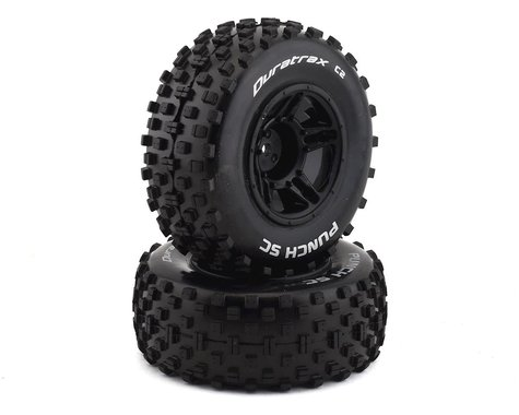DuraTrax Punch Pre-Mounted Short Course Front Tires (Black) (2) (Soft - C2)