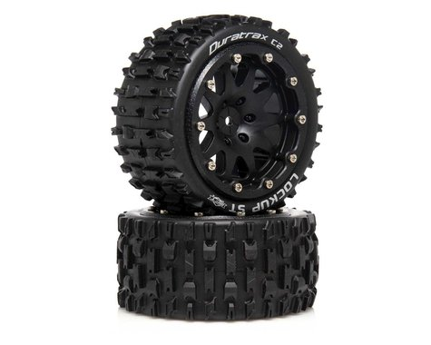 """DuraTrax Lockup ST Belted 2.8"""" 2WD Rear Truck Tires (Black) (2) (0 Offset)"""