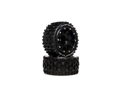 """DuraTrax Lockup ST Belted 2.8"""" 2WD Truck Tires (Black) (2) (0.5 Offset)"""
