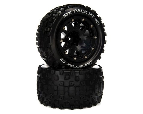 """DuraTrax Six Pack MT Belted 2.8"""" 2WD Monster Truck Tires w/14mm Hex (Black) (2)"""