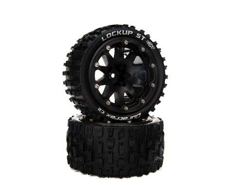 """DuraTrax Lockup ST Belted 2.8"""" 2WD On-Road Truck Tires w/14mm Hex (Black) (2)"""