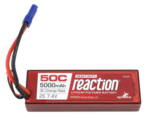Dynamite Reaction HD 2S 50C Hard Case LiPo Battery w/EC5 (7.4V/5000mAh)