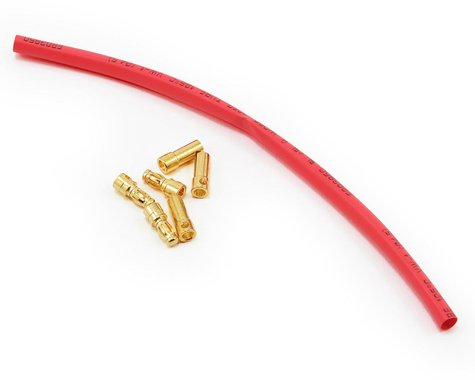 E-flite 3.5mm Gold Bullet Connector Set w/Heatshrink (3 Male/3 Female)