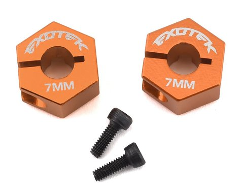 Exotek XB4 12mm Aluminum Rear Hex (2) (7mm Wide) (Orange)