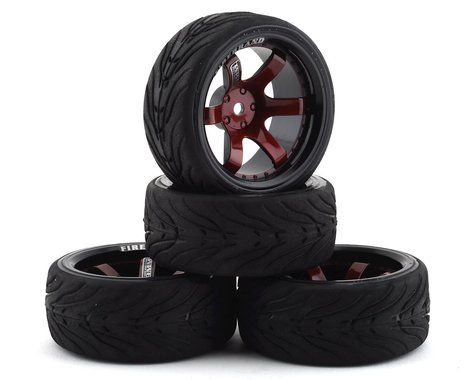 Firebrand RC Bloodshot RT9 Pre-Mounted On-Road Tires (4) (Red/Black)